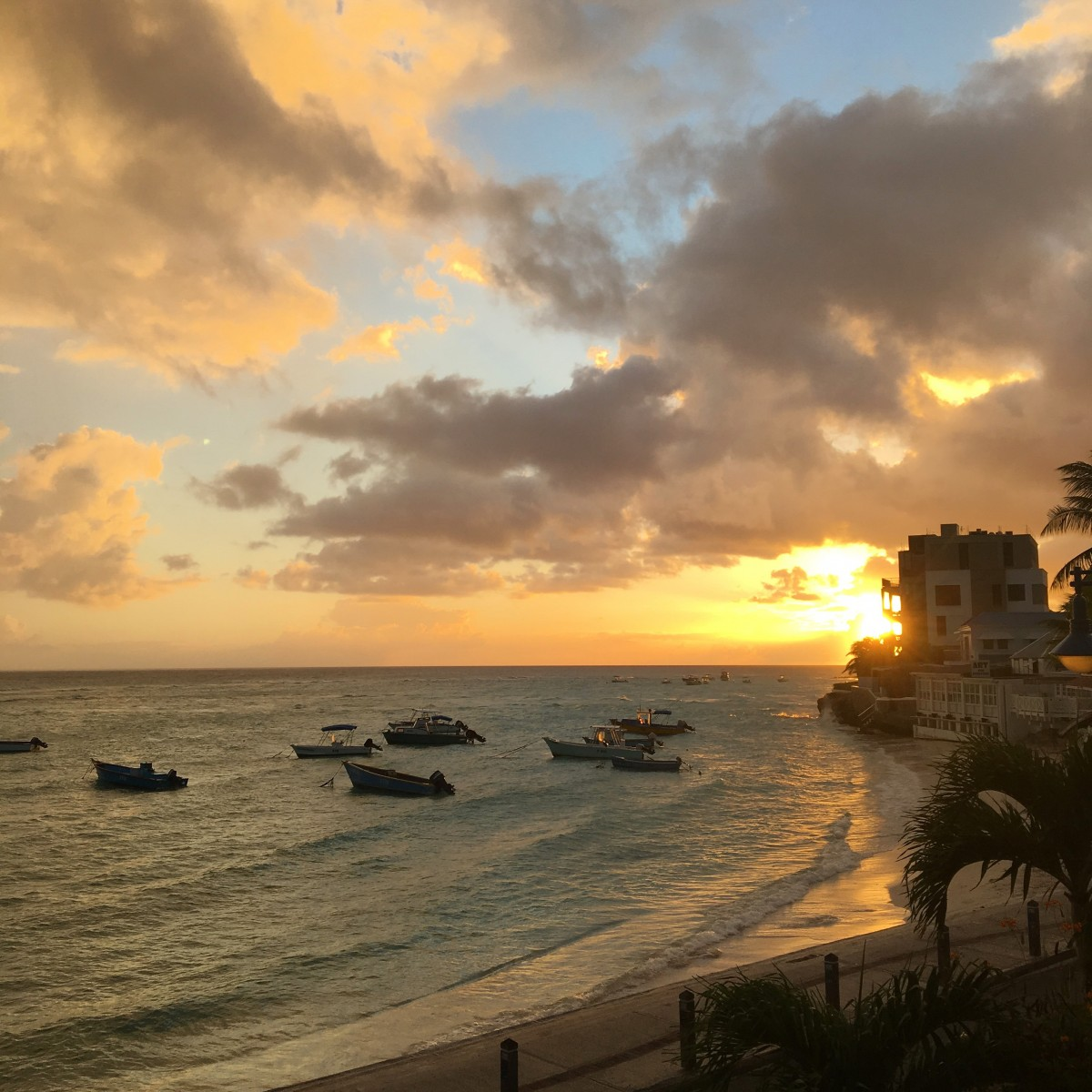 The beach at sunset in Barbados