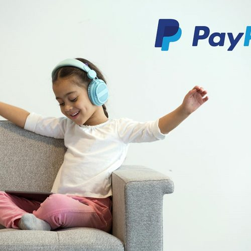 PayPal image of a girl listening to music