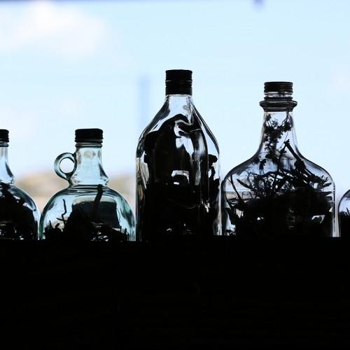 bottles in market in Saint Lucia