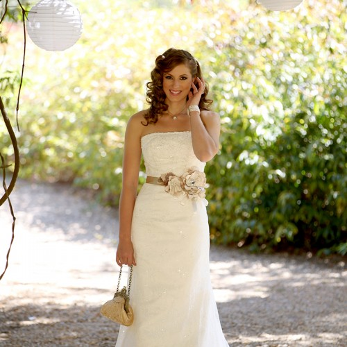 bride standing with bag