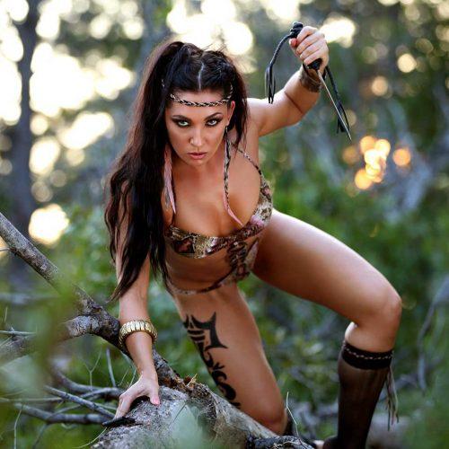 Model in warrior costume